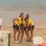waitress trio posing