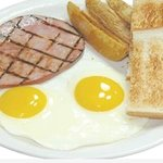 Traditional. 2 Eggs cooked to order with your choice of Bacon, Ham, Link Portuguese Sausage