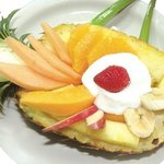 Pineapple Boat. Topped with Yogurt or Cottage Cheese