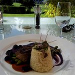 Five spice duck breast, cherry puree, steamed asparagus, buttered rice