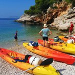 Launching kayaks on the beautiful south coast of Vis