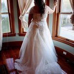 Bridal suite offered beautiful background for pictures