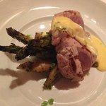 Dinner Special: Seared Tuna with an Orange Cream Sauce alongside Roasted Potatoes & Asparagus -