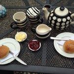 Fresh scones jam and clotted cream