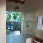 Beautiful indoor/outdoor shower!  Decor is luxurious and locally authentic