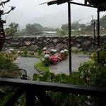 Restaurante oasis con una espectacular lluvia