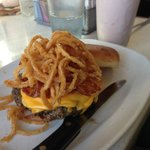Bacon, onion string, American cheese burger