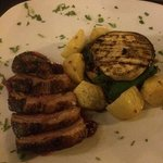 duck breast with roast potatoes and veg