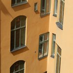 Close up of windows on the opposite side of hotel.