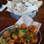 Blue cheese chips and sweety and spicy shrimp, YES PLEASE!