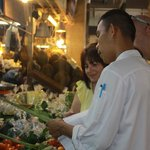 At the markets selecting produce for Thai cooking class