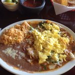 For breakfast: Chilaquiles with scrambled eggs