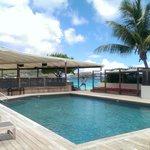 Pool area, with fun hotel staff