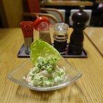 Shrimp and avocado salad in wasabi sauce