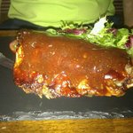 Half rack of ribs. Its hard to believe this is a starter. The meat fell of the bone