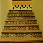Tiles on the stairs to the room
