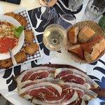 cold tomato soup, ham, wine, bread