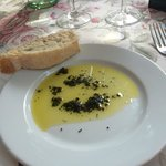 Olive oil with provence herbs and warm bread - delicious!