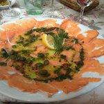 Salmon carpaccio starter - very nice