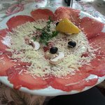 Beef carpaccio starter - delicious! (although they should change the mushrooms to capers)