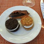 all house made oreo cookie, oatmeal whoopie pie, eclair topped w/pepper bacon