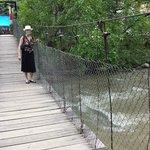 Access to the island via a suspension bridge.