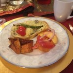Mushroom and asparagus omelet with tomato/peach salad
