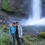 us at the base of a waterfall in the reserve
