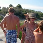Vacationing at Beachside Colony and paddling boarding with a group through the rivers on Tybee