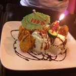 Surprise complimentary birthday dessert