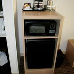 Microwave, fridge and coffee maker