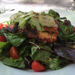 Delicious grilled salmon w/mesculin salad