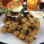 Buffalo Burger with Goat Cheese on a Biscuit with Okra