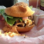 Burger with pimento cheese and mushrooms