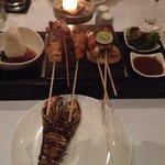 Seafood hot rock platter