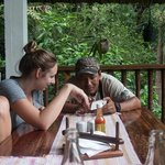 Isaias showing my daughter some of the beauty of the lodge