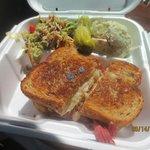reuben w/Asian style broccoli slaw & potato salad