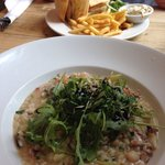 Seafood risotto and sandwich