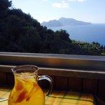 Vino e percoche più Capri sullo sfondo