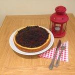 Homemade blackcurrant cheesecake
