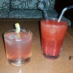 tasty cocktails (cosmopolitan & strawberry caipirinha with fresh berrys)