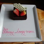 Our lovely honeymoon cake, in our room awaiting our arrival!! Lovely attention to detail!
