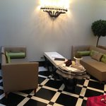 Comfy seating area in lobby - bring a coffee or glass of wine and your laptop and you're set.
