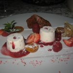 Nougat ice cream with red fruits
