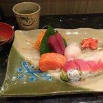 Sashimi appetiser and rainbow roll