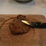 Steak - each sliced cooked one at a time and so tender