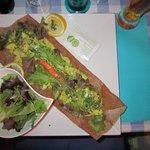 Crepe with avocado and shrimp