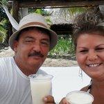 At our Cabana enjoying a Pina Coloda