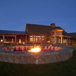 The large fire pit is perfect for after dinner drinks and house-made s'mores.