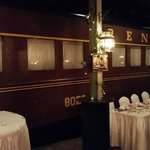 Exterior view of the train car, area was set up for a wedding